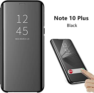 ZEPIN Galaxy Note 10 Plus Case, Luxury Clear View Window Front Smart Function Mirror Screen Flip Electroplate Plating Stand Protective Cover Case for Samsung Galaxy Note 10 Plus(Black)