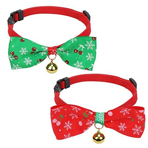 QKURT 2 collares de Navidad para mascotas, collar ajustable para cachorros de Navidad con pajarita y campana dorada, bonito patrón navideño para el cuello de perro pequeño, accesorio para pajarita