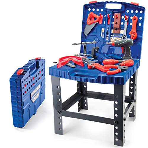 Play22 Kids Tool Workbench 76 Set - Kids Tool Set with Electronic Play Drill - STAM Educational Pretend Play Construction Workshop Tool Bench - Pretend Play Tool Set Build Your Own Kids Tool Box