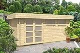 CARLSSON Alpholz Gartenhaus Kyara-44 aus Massiv-Holz | Gerätehaus mit 44 mm Wandstärke | Garten Holzhaus inklusive Montagematerial | Geräteschuppen Größe: 500 x 298 cm | Flachdach