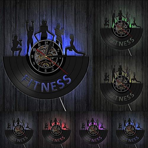 Reloj de pared con diseño de gimnasio y discográfico de vinilo para mujer, diseño de club de fitness, estilo retro, decoración de arte para sala de deportes, culturismo, estudio, luces LED