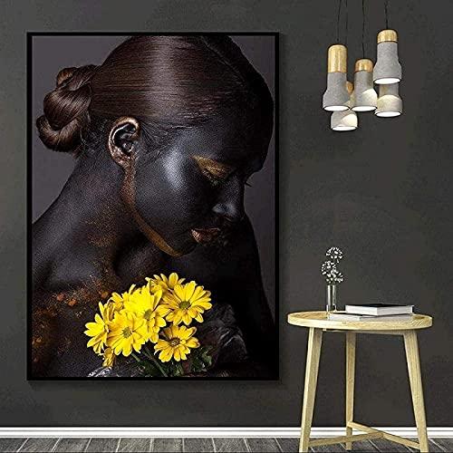 LangGe Pinturas Decoración 60x80cm sin Marco Africano Negro Sexualidad Flor Mujeres Imagen Decoración Imagen Póster Imagen Moderna