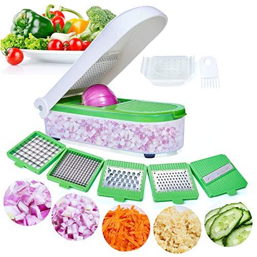 Gemüseschneider Gemüsehobel Kartoffelschneider Nicer Dicer 5 Austauschbare Klingen mit Schäler Obst, Multischneider Gemüseschäler, Julienneschneider, für Alle Gemüse