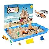 建設おもちゃの車の砂場 砂遊びおもちゃ 砂場セット 砂セット 室内砂場 砂粘土おもちゃ 手を汚 さない 8建設おもちゃの車 14型抜き 付きサンドボックス (オレンジ)