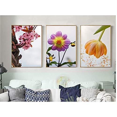 Decoración de cuadros de flores para la cabecera de la cama cuadros de lienzo arte de pared sin 50x70 cm Sin marco