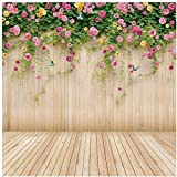 WOLADA 10x10ft Spring Flower Backdrop Wood Backdrops for Photography Photographer Photo Video Background Studio Thin Vinyl Props 8909