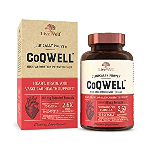 CoQWell - CoQ10 Heart, Brain, and Vascular Health Support | High-Absorption, Patented Coenzyme Q10 CoQsol | 60 Softgels - 60 Day Supply