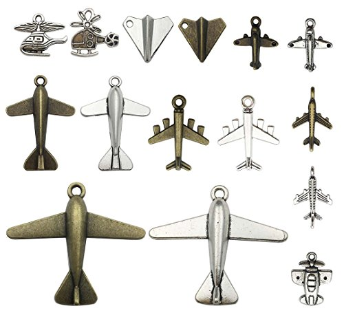 Youdiyla 40 PCS Airplane Charms Collection, Antique Silver Bronze Plane Passenger Aircraft Helicopters Aviation Aircraft Fighter Aircraft Metal Pendants fro Jewelry Findings (Airplane HM49)