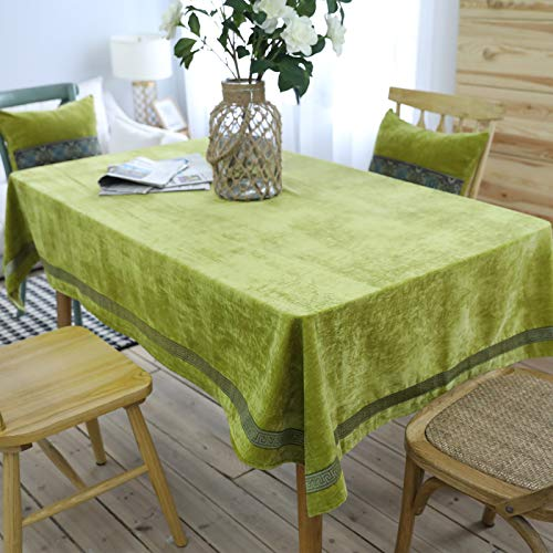 WSJIABIN Home Decoration Tablecloth Nordic Classical Tablecloth Coffee Table Cloth Embroidery Solid Color Double-Sided Fleece Thickened Rectangular Tablecloth