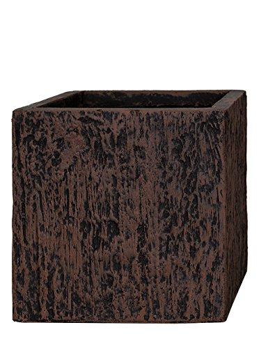 Pflanzwerk® Maceta Cube Wood Marrón 30x34x34cm *Resistente a Las heladas* *Protección UV* *Calidad Europeo*