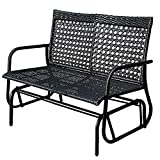 Sundale Outdoor 2 Person Wicker Loveseat Glider Bench Chair Patio Porch Swing with Rocker, Black