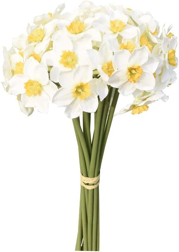 Mandy's Max 85% Popular brand OFF 12pcs White Artificial Daffodils for Party Flowers Home