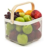EZOWare White Mesh Steel Storage Organizer Basket Bin with Wood Handle Ideal for Kitchen Bathroom Pantry Cabinets Home Decor - White (1 Pack)