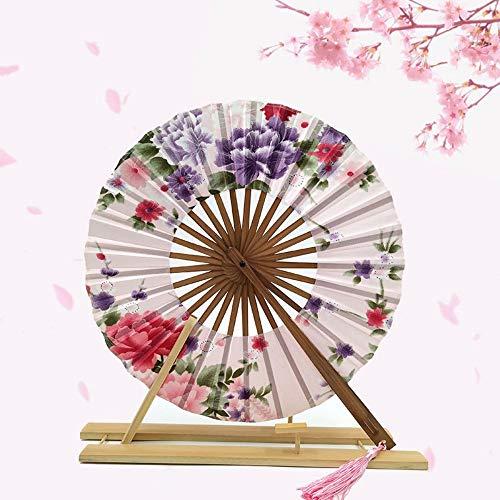 XIAOHAIZI Hand Held vouwventilator, pioen bloem Beige ronde molen Fan creatieve Chinese stijl bamboe vouwen Hand Fan bruiloft dans gunst Pocket Fan Gift