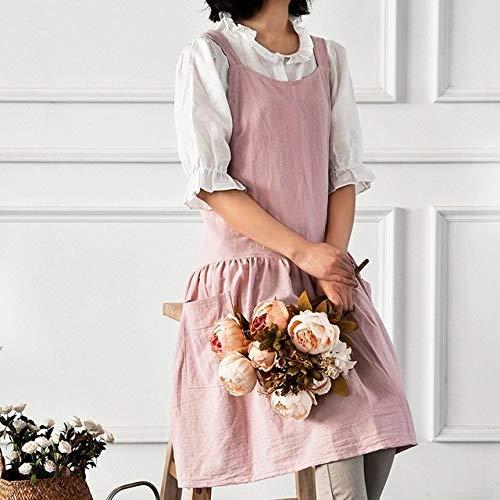 ALXY Señora del algodón de lino Floristería Cafetera Delantal de la tienda de Trabajo barbacoa babero delantal for cocinar de las mujeres del clavo de la cocina del restaurante del delantal delantal v