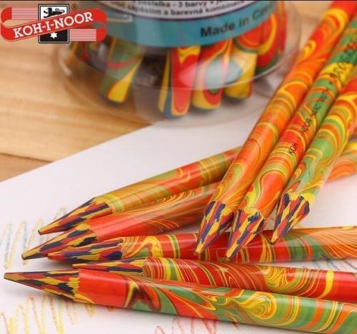 DASARA KOH-I-Noor Magic Multi Color Rainbow Swirl Colored Pencils Woodless Pencil