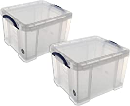 Echt handig 35 liter plastic opbergdozen - helder (Pack van 2)