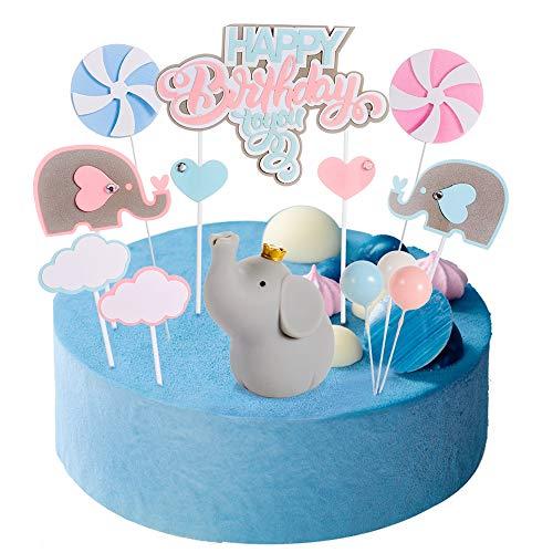 Haosell - Decoración para tarta de bebé, cumpleaños, decoración para tartas, diseño de elefante