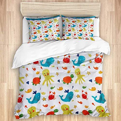 3-teiliger Bettbezug, mehrfarbiges Design für lustige Meerestiere, hochwertiges Bettwäscheset mit 1 Beilagenbezug und 2 Kissenbezügen
