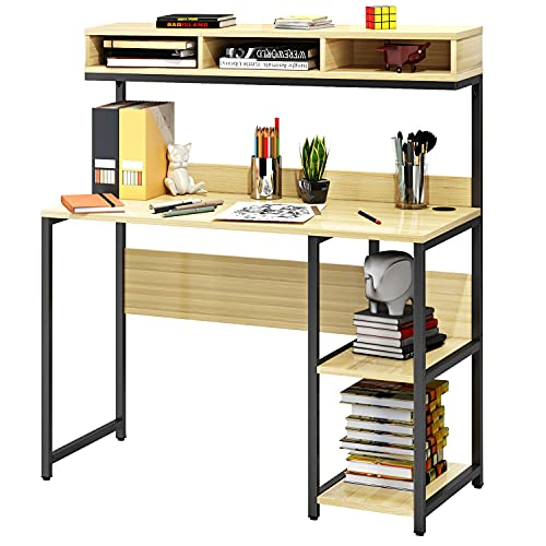 VIPEK Computer Desk 42 Inch Small Desk for Small Spaces, School Student Desk Study Writing Desk, Small Corner Desk with Hutch and Storage Shelves, Space Saving & Easy Assemble, Oak