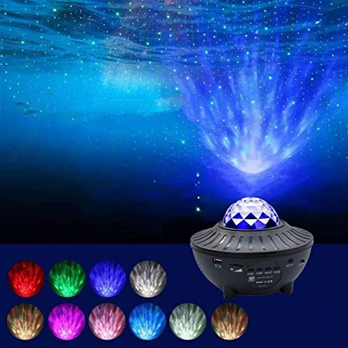Proyector de estrellas, LED Bluetooth Música Océano Patrón de agua Flama Starry Sky Light Proyector Light USB Etapa Light Night Light, Can Control Remoto Ajuste Brillo, Adecuado para regalos romántico