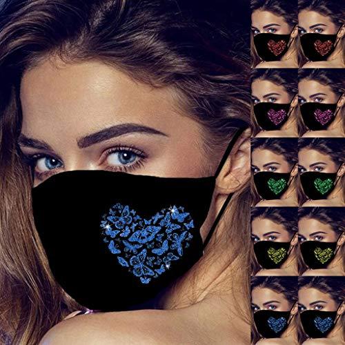 5/10pcs Ladies Women's Reusable Half Face_Masks M-Shape Nose Clip Bandanas 3D Butterfly Print Breathable Dust Mouth Cover Adult Reusable Fashion Shield Washable Filter (10pcs, Pattern-E)