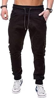 Britainlotus Men Fashion Cotton Casual Cargo Joggers Gym Multi-Pockets Pant
