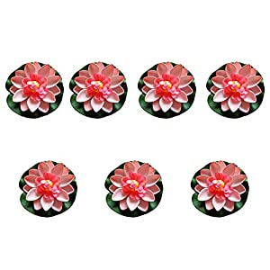 FengShuiGe 7Pcs 3.9 Inch Artificial Lotus Flower Artificial Flower Pool Aquarium Decoration Eternal Flower Artificial Flower (lighe Pink)