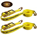 2 Tie-Down Ratchet Straps J Hooks, 2 Heavy Duty 2' x 27' Tie-Down Ratcheting Cargo Truck Straps Wire Hook Ends, J-Hook Ratchet Strap TieDowns