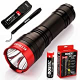 BOSTAC BTR-45R Rechargeable Tactical Flashlight - Hand Held Professional Flashlight by Boston Tactical with High Intensity CREE XML2 U2 USA LED Bulb, 1,100 Lumens, Sealed Against Solvents