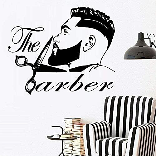 Corte de pelo Calcomanía de la pared Peluquería Peluquería Peluquería Styling Barber Shop Vinyl Wall Sticker Decoración para el hogar Accesorios 69x57cm