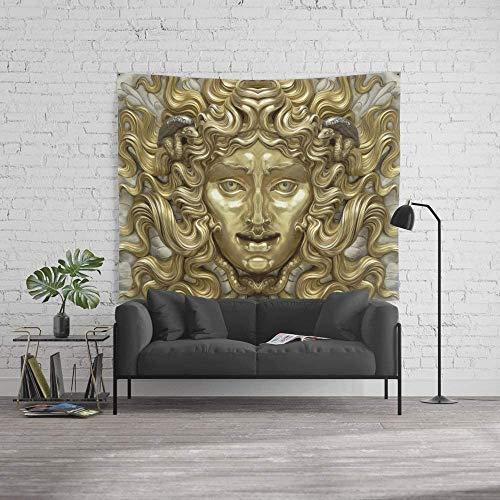 Wandteppich, Größe L: 152,4 x 228,6 cm, antikes Gold und Silber Medusa Myth