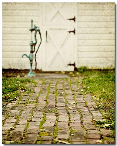 Rustic Country Kitchen Wall Art Print (Not Framed). Brick Pathway with White Barn Vertical Picture. 8x10, 11x14 or 16x20. (FBML)