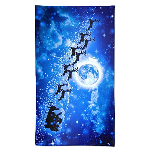 "Aieefun Winter Holiday Christmas Santa Claus Reindeer Blue Bath Towel Soft Towels Decorative for Kitchen Room Bath Hotel Housewarming Gifts 27.5"" X 15.7"""