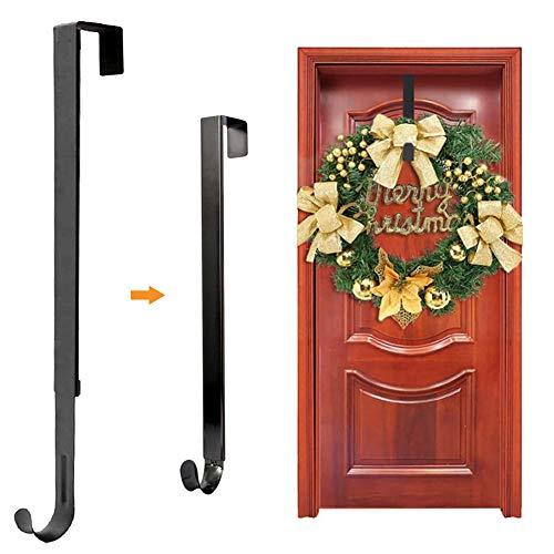 Colgador de corona para puerta delantera de Halloween Decoración de Navidad Metal sobre la puerta Solo gancho, para colgar sombreros, abrigos, toallas Decoración de Navidad (negro)