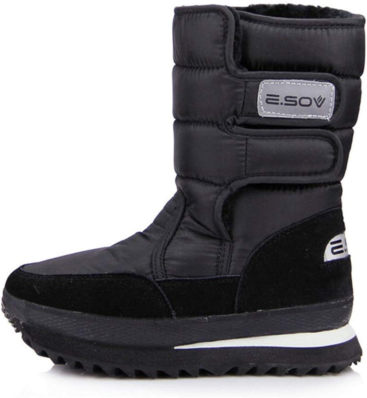 ZHRUI Mens Hook Loop High Boots Soft Sole Non Slip Waterprooft Snow Boots (color   Black, Size   UK 7)