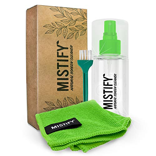 Mistify Natural Screen Cleaner Kit - 120ml Spray Bottle with Brush and 1 Microfibre Cloth [Smartphones Tablets Laptops TVs Touchscreen Keyboards Oleophoebic Smartwatch LED Plasma LCD TV 4K]