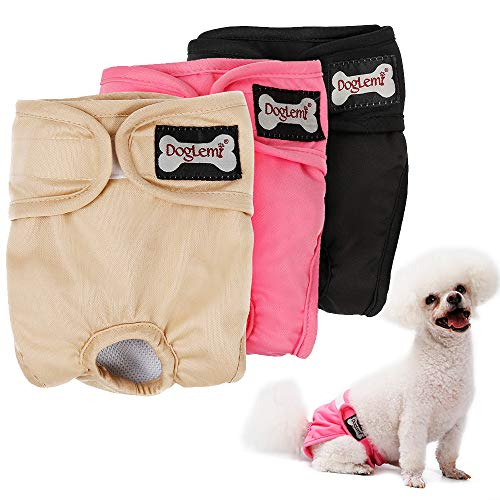 LOVABLEU 3 PCS Female Dog Diapers Medium Sanitary Panties Comfy and Stylish Menstrual Pads Onesie for in Dogs Heat