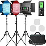Pixel RGB Led Video Light with Remote Control, 3 Packs Pro Video Lighting Kit with Barn Door, 360° Full Color, 2600k-10000k, CRI 97 + for Photography, Portrait, Video Recording, Broadcasting, YouTube