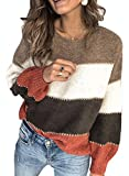Aleumdr Womens Long Sleeve Crewneck Contrast Color Pullover Fall Winter Warm Sweater Cozy Knit Jumper Tops Brown Small 4 6