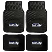 """2 front floor mats (size: 27"""" x 18"""" inches: each) 2 rear floor mats (size: 14"""" x 18"""" inches: each) Bright team logo 100% Vinyl floor mats Price is for a 1 set of floor and rear mats"""