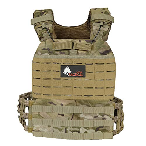 WOLF TACTICAL Adjustable Weighted Vest – WODs, Strength and Endurance Training, Fitness Workouts, Running (Multicam)