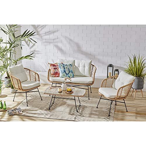 Cherry Tree Furniture St Loy Natural Colour 4-Seater Rattan Sofa set