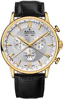 EDOX - Reloj Cronógrafo para Hombre de Cuarzo con Correa en Cuero 10501-37J-AID