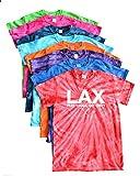JANT girl Lacrosse Tie Dye T-Shirt - White LAX Logo (Turquoise, YM)