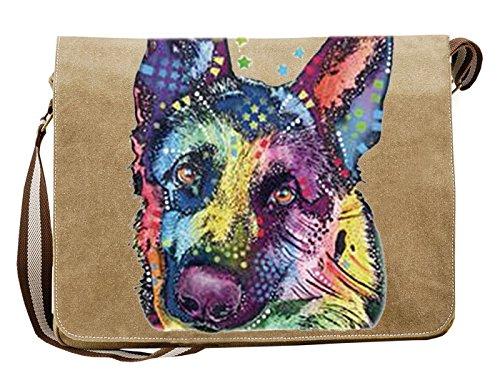 Hunde Motiv Umhängetasche für Hundehalter mit Hunde Tasche Canvas German Shepherd Hund Hundebesitzer Hundehalter Dog Hunde Artikel Dogs Hundefreund