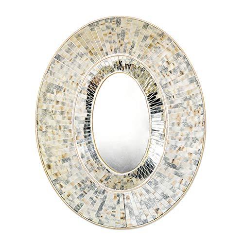 Z-jignzi Espejo de Pared Ovalado de Vidrio Mosaico Espejo con Marco Decorativo Hecho a Mano Bohemio para Sala de Estar (L40 in. X W32 in.)