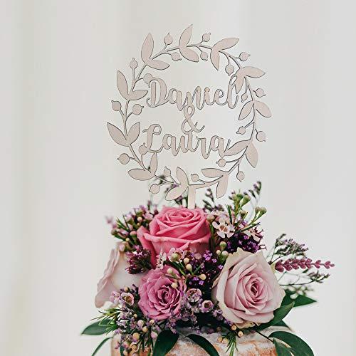 MONAMÍ - Topper Personalizado para Tarta de Boda, Corona Floral. Madera de Haya 3 mm Grosor y 22 x 14 cm