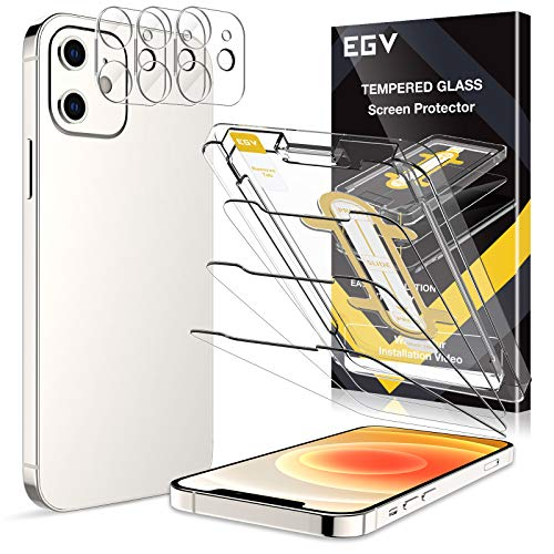 EGV [6 Pack] 3 Pack Screen Protector + 3 Pack Camera Lens Protector Compatible with iPhone 12 5G (6.1''), 9H Hardness Tempered Glass, [Easy Installation Tray] Anti-Scratch, HD Ultra-Thin