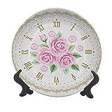 Shabby Chic - Plato decorativo de cerámica de 25,4 cm, diseño vintage con números romanos y números romanos antiguos, estilo vintage, para mesa de comedor, decoración del hogar